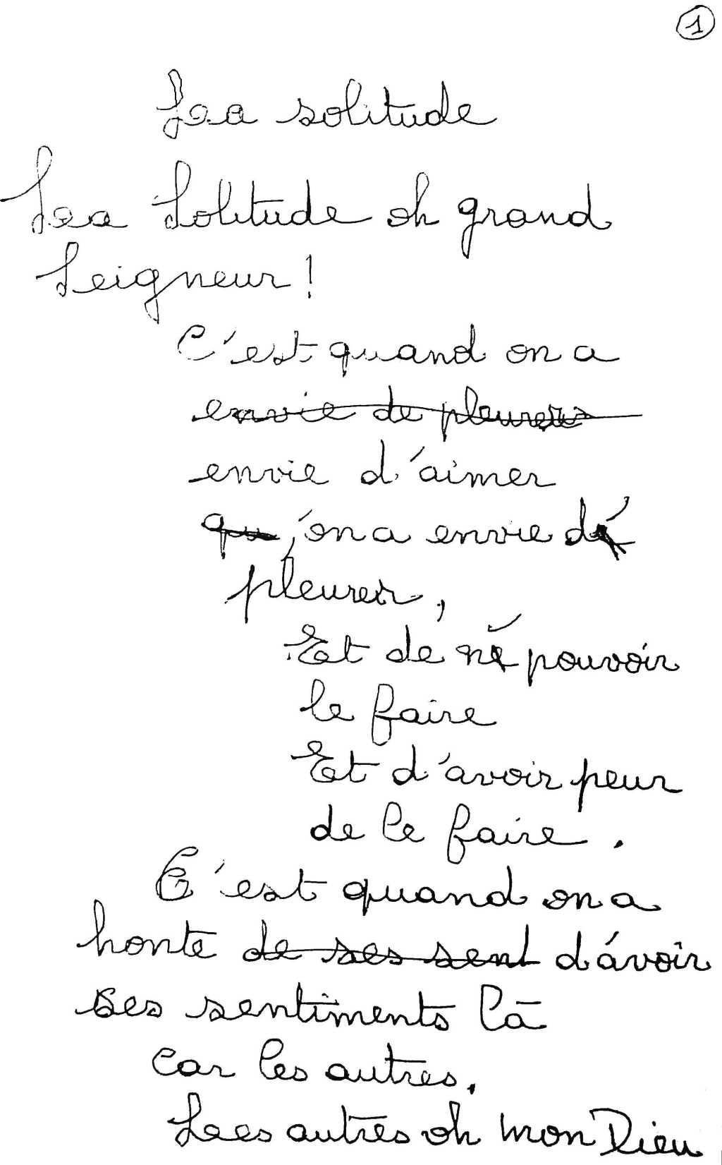 manuscrit du poème 2494