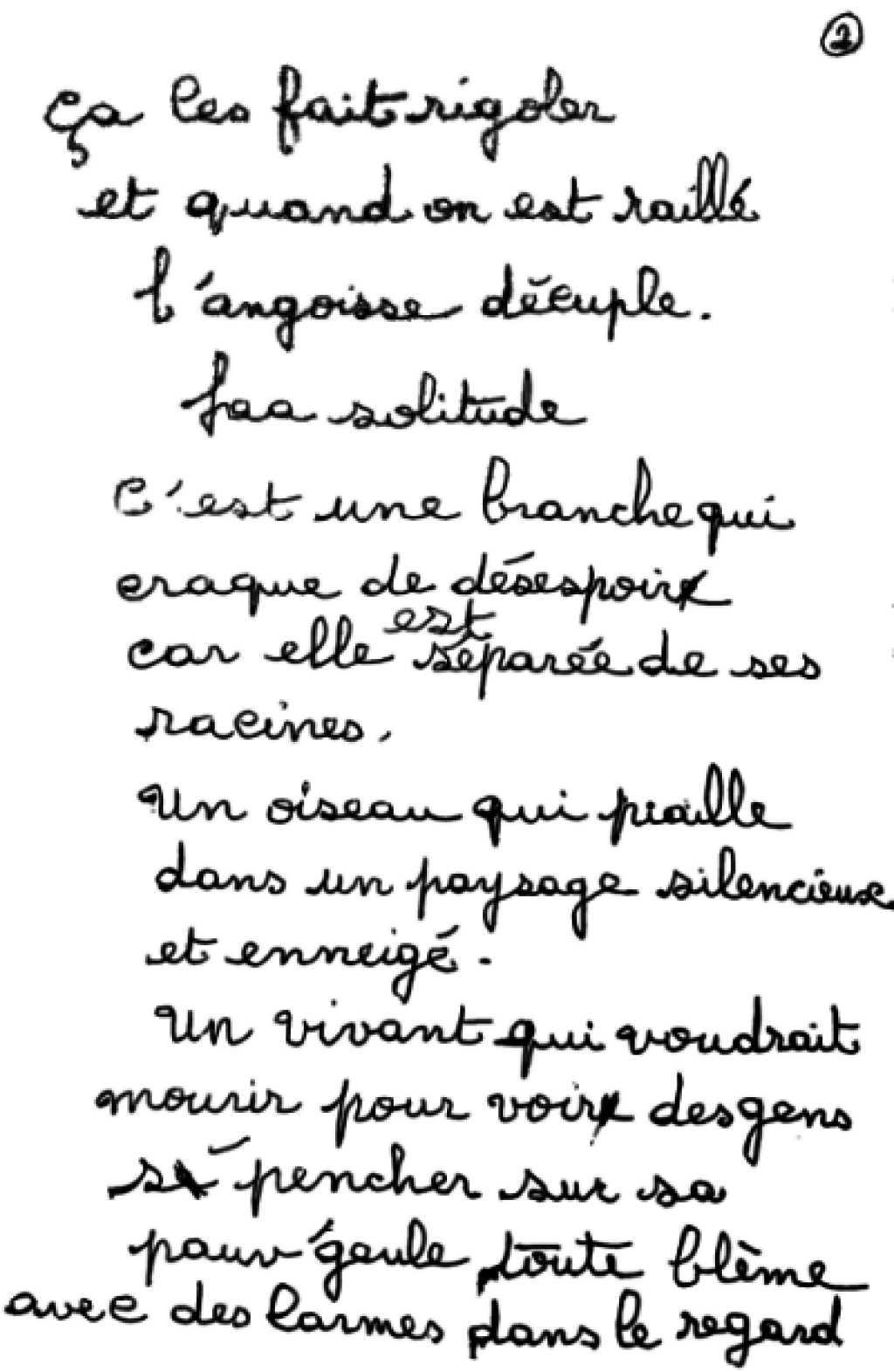 manuscrit du poème 2495