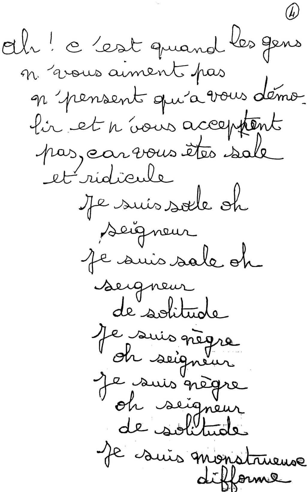 manuscrit du poème 2497