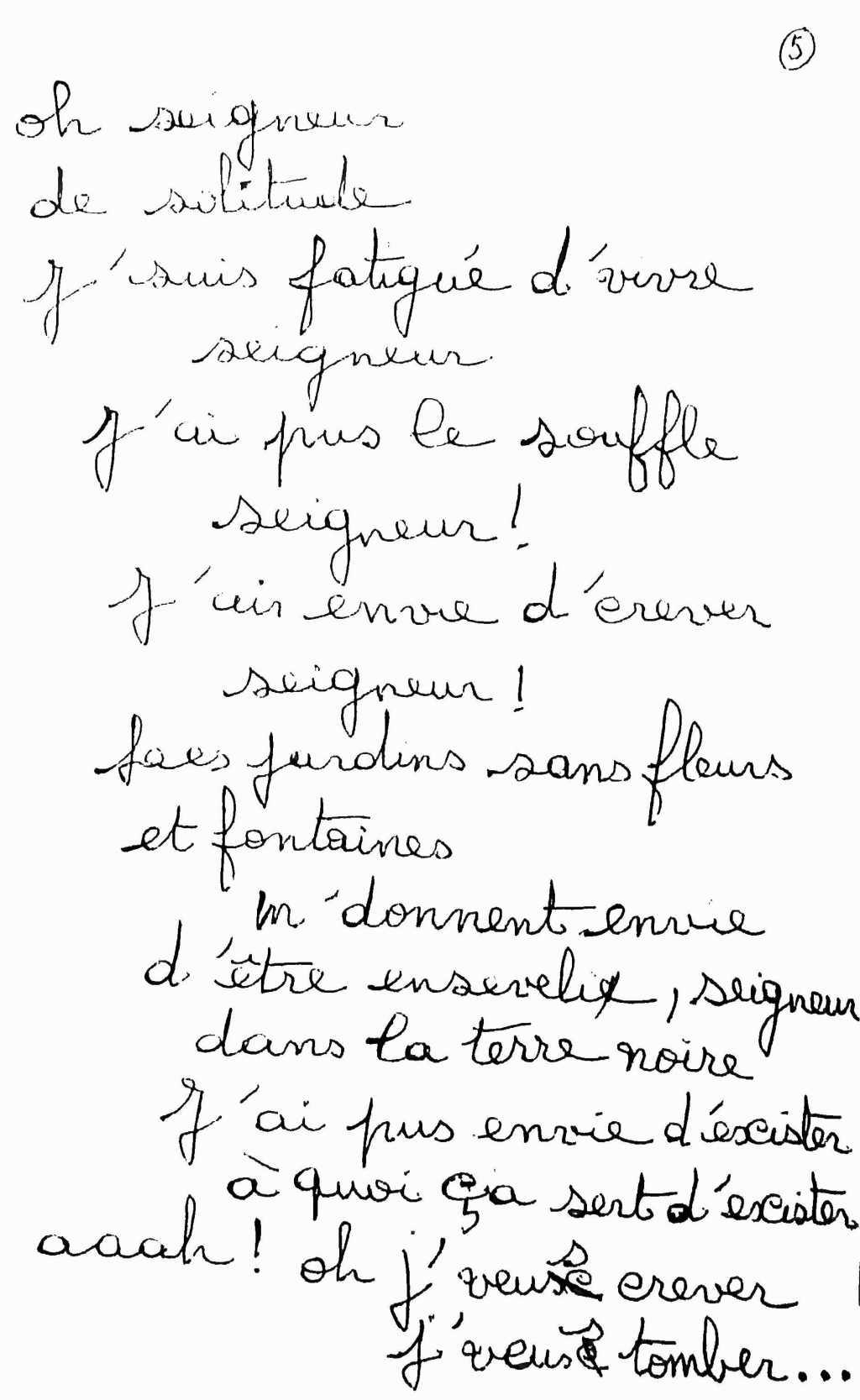 manuscrit du poème 2498