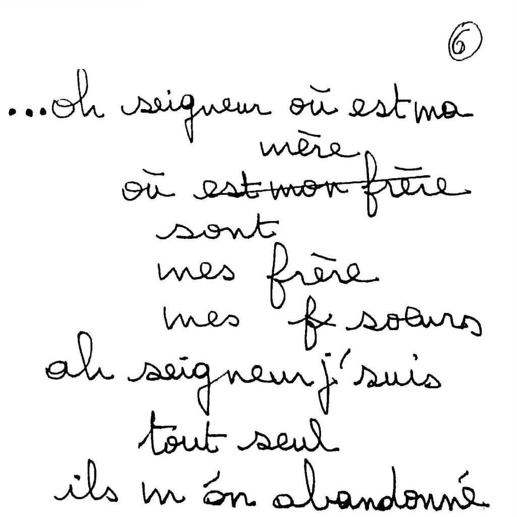 manuscrit du poème 2499