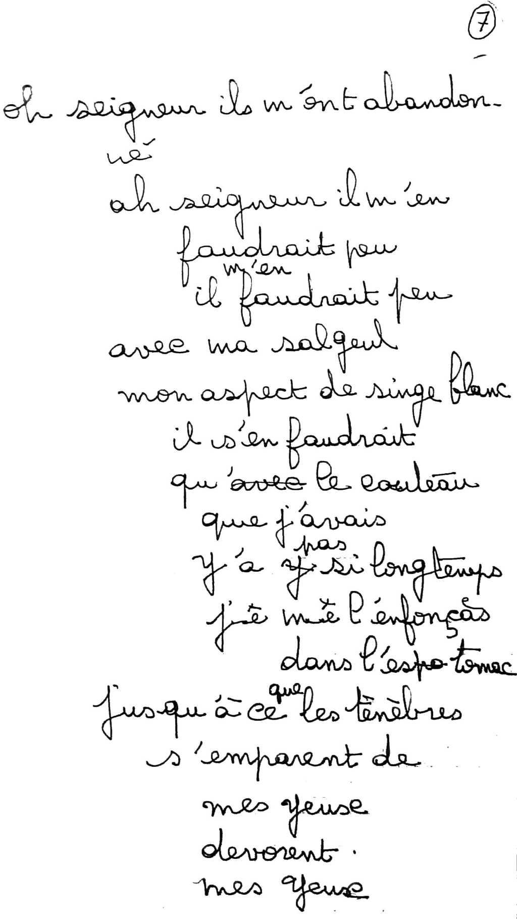manuscrit du poème 2500