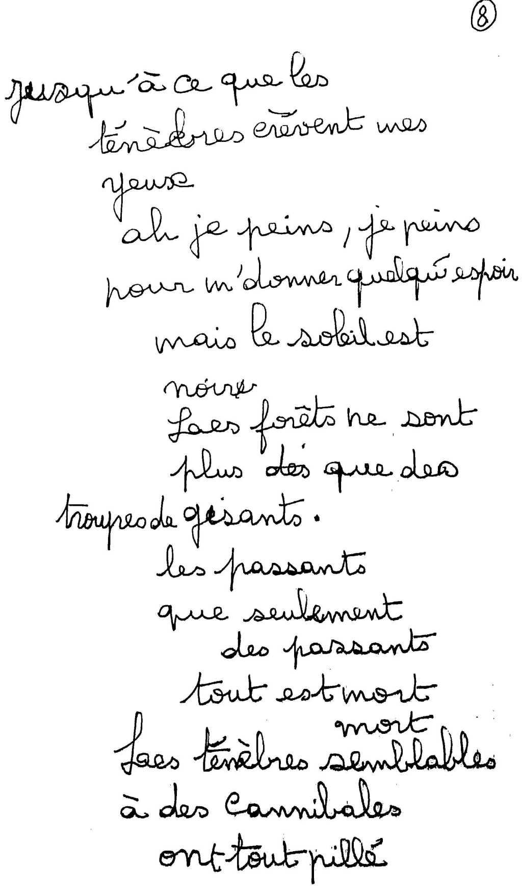 manuscrit du poème 2501