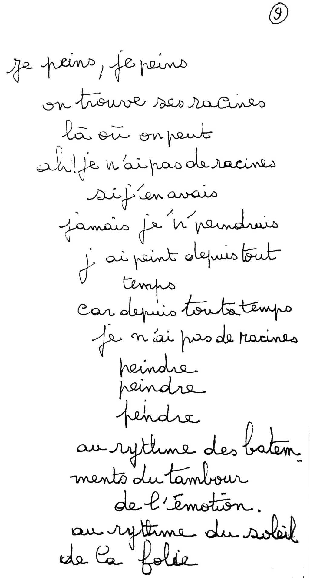 manuscrit du poème 2502