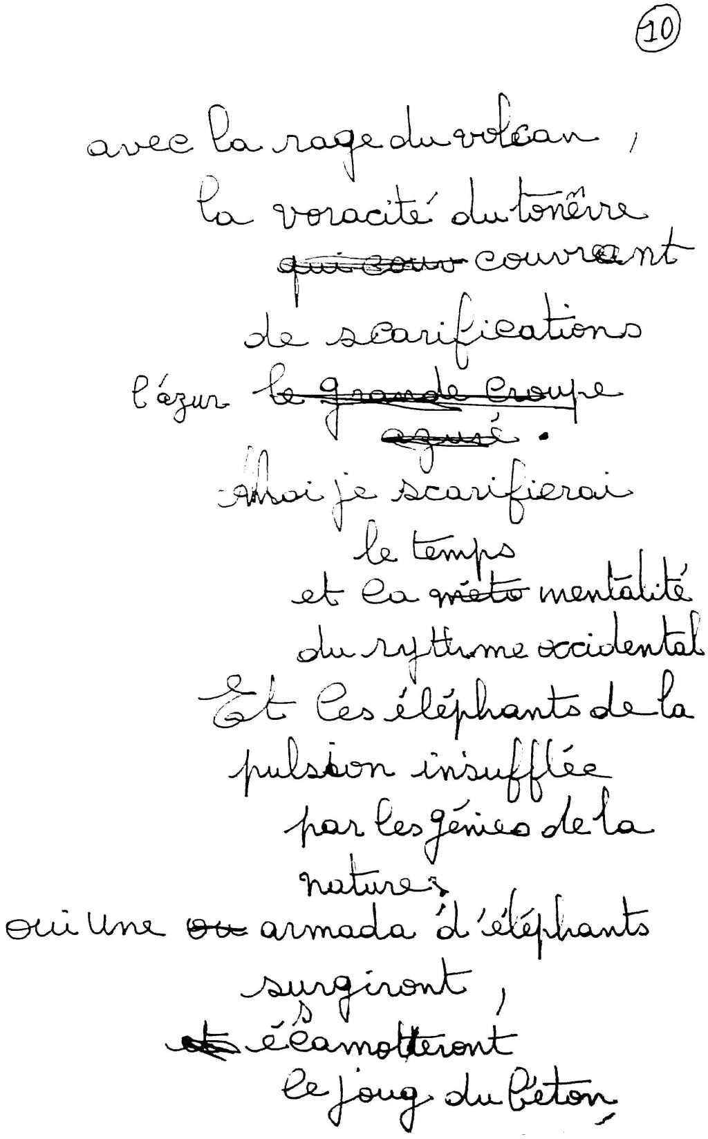 manuscrit du poème 2503