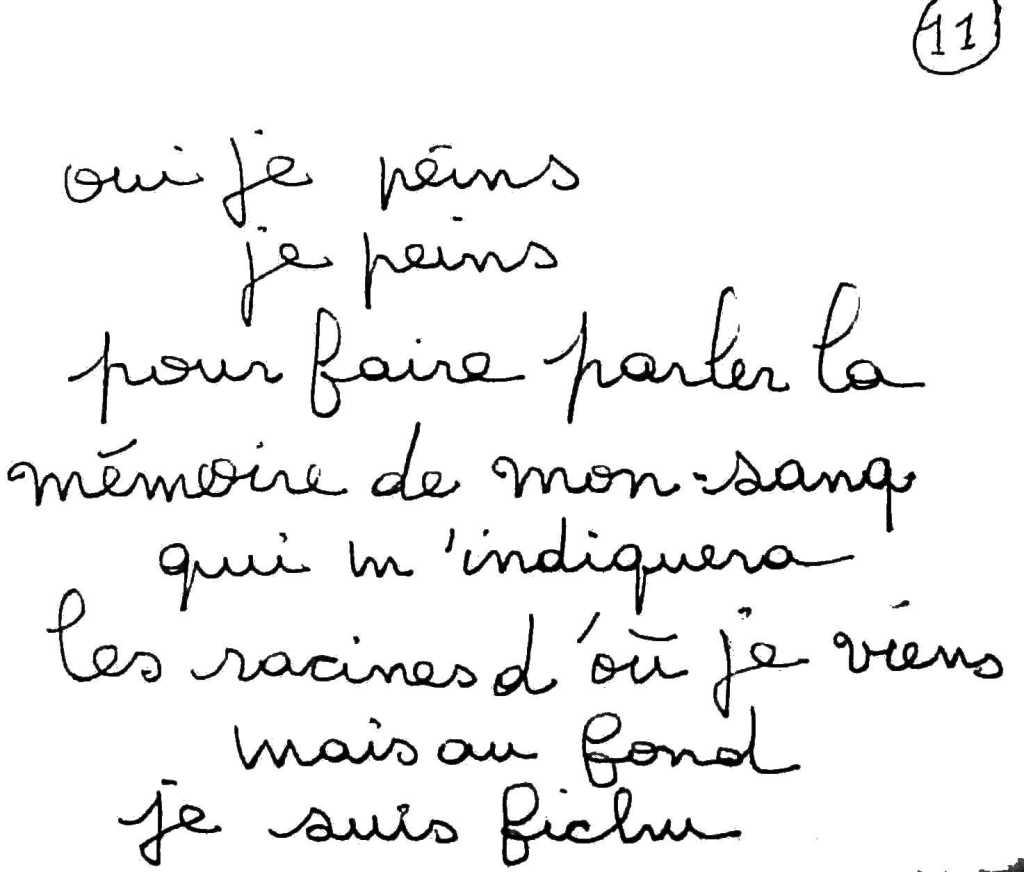 manuscrit du poème 2504