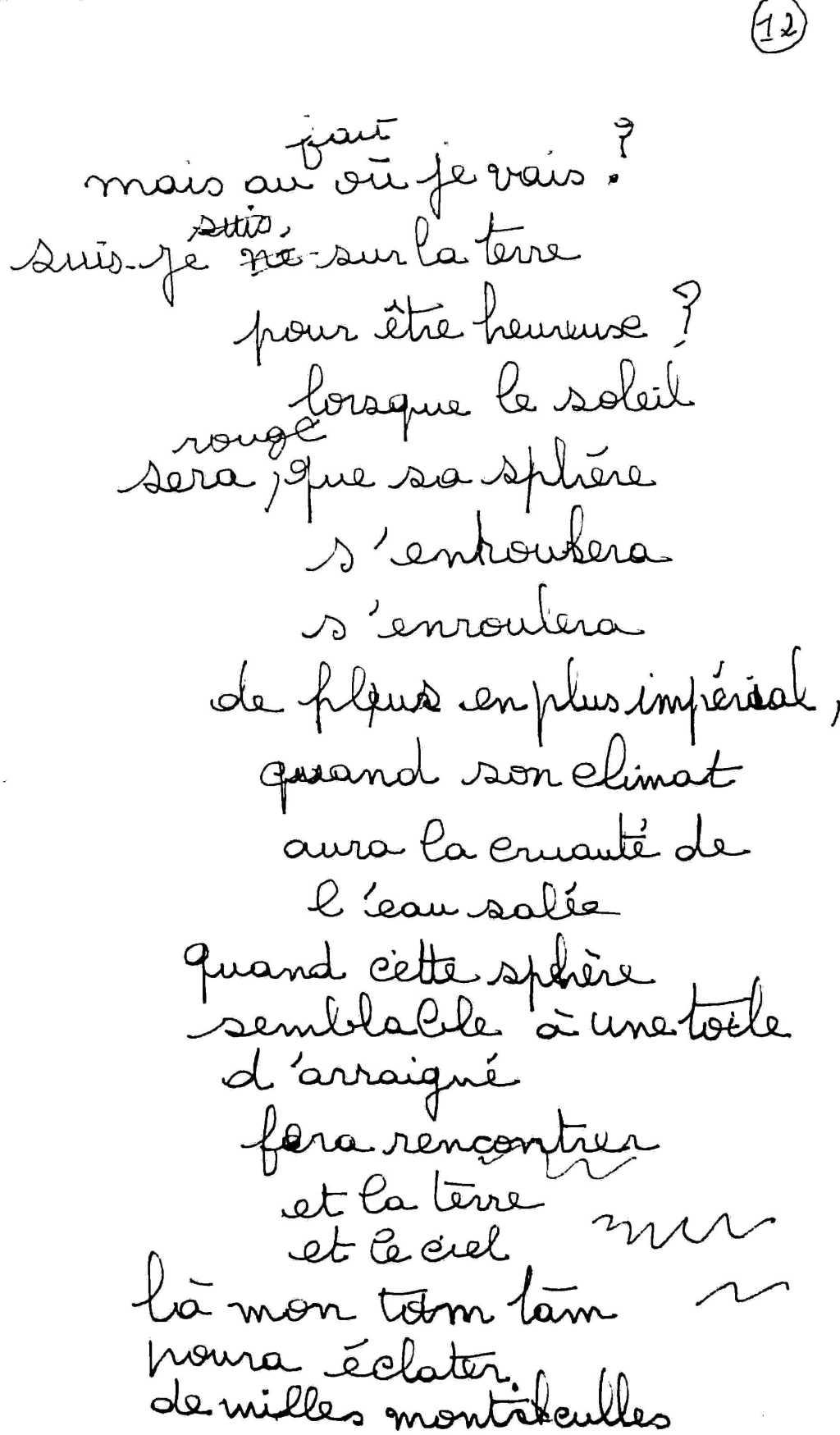 manuscrit du poème 2505