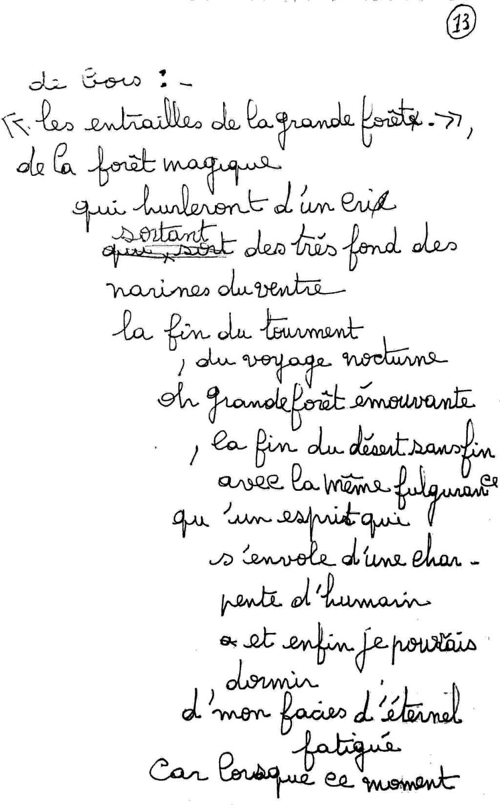 manuscrit du poème 2506