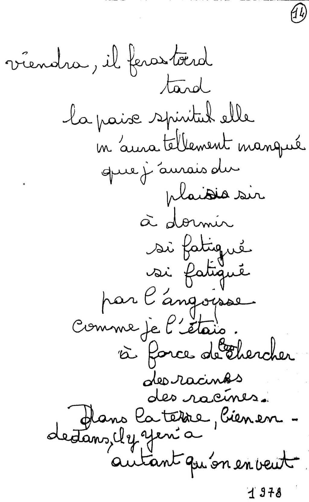 manuscrit du poème 2507