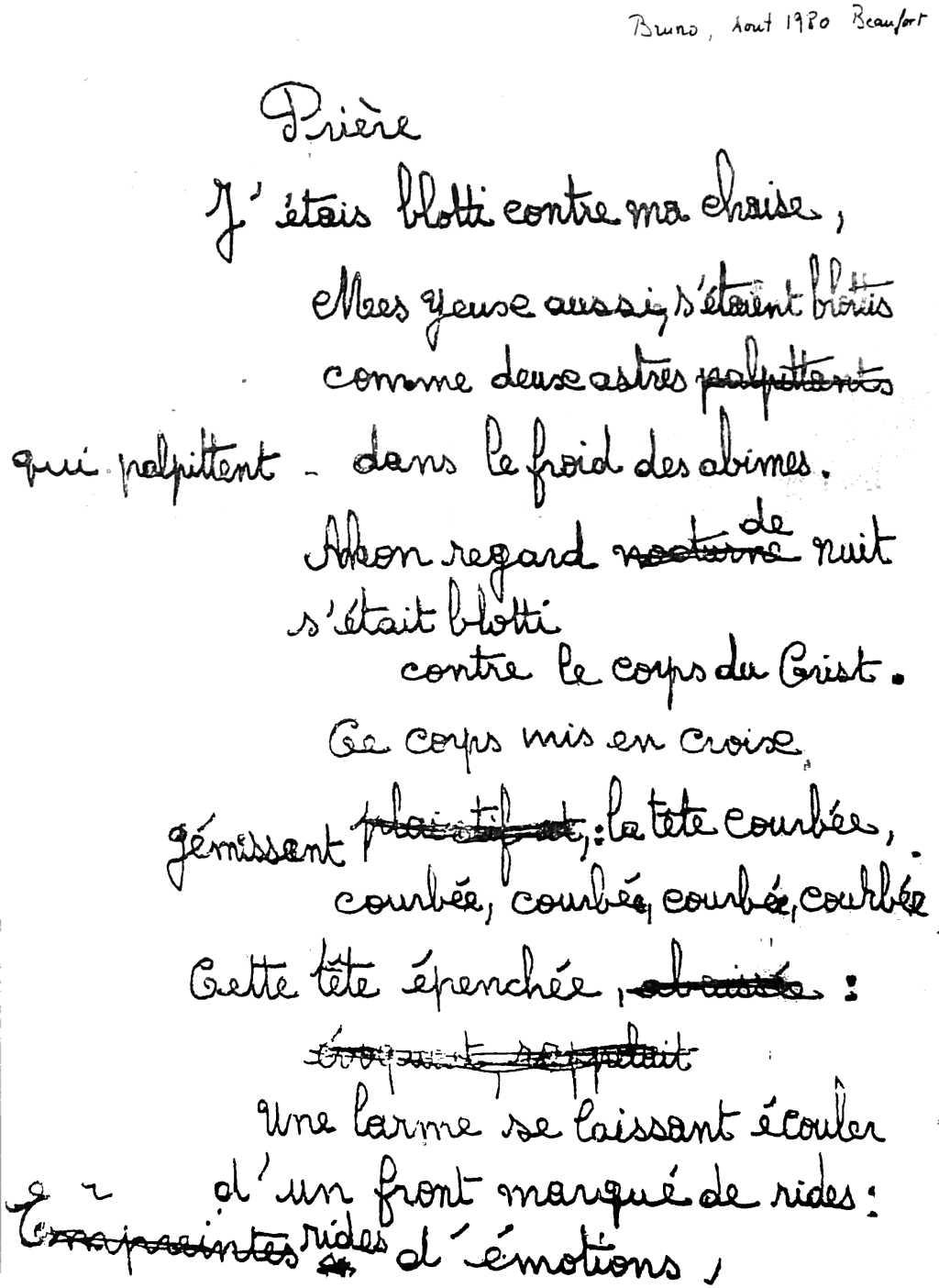 manuscrit du poème 2509
