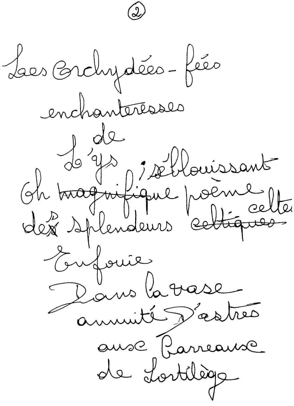 manuscrit du poème 2520