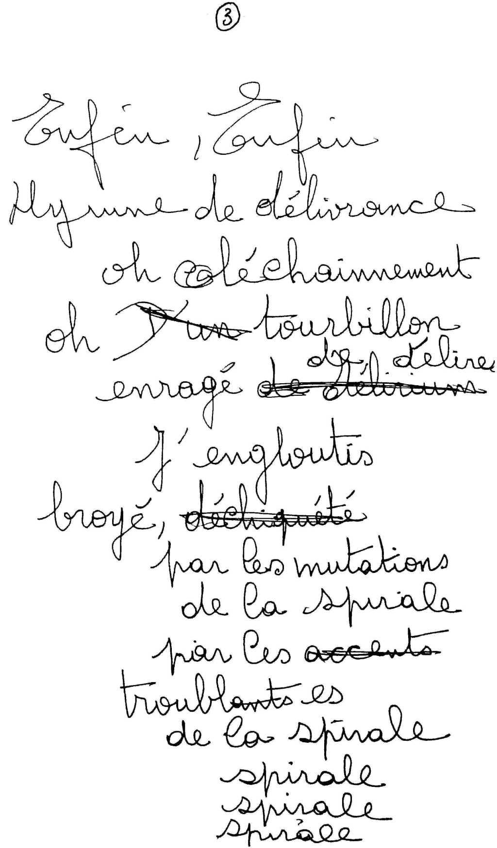 manuscrit du poème 2521