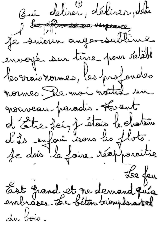 manuscrit du poème 2525