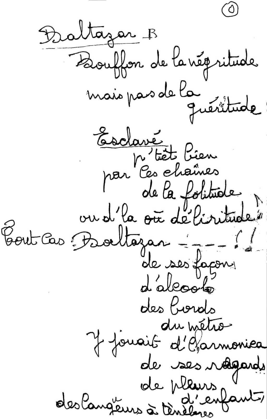 manuscrit du poème 2529