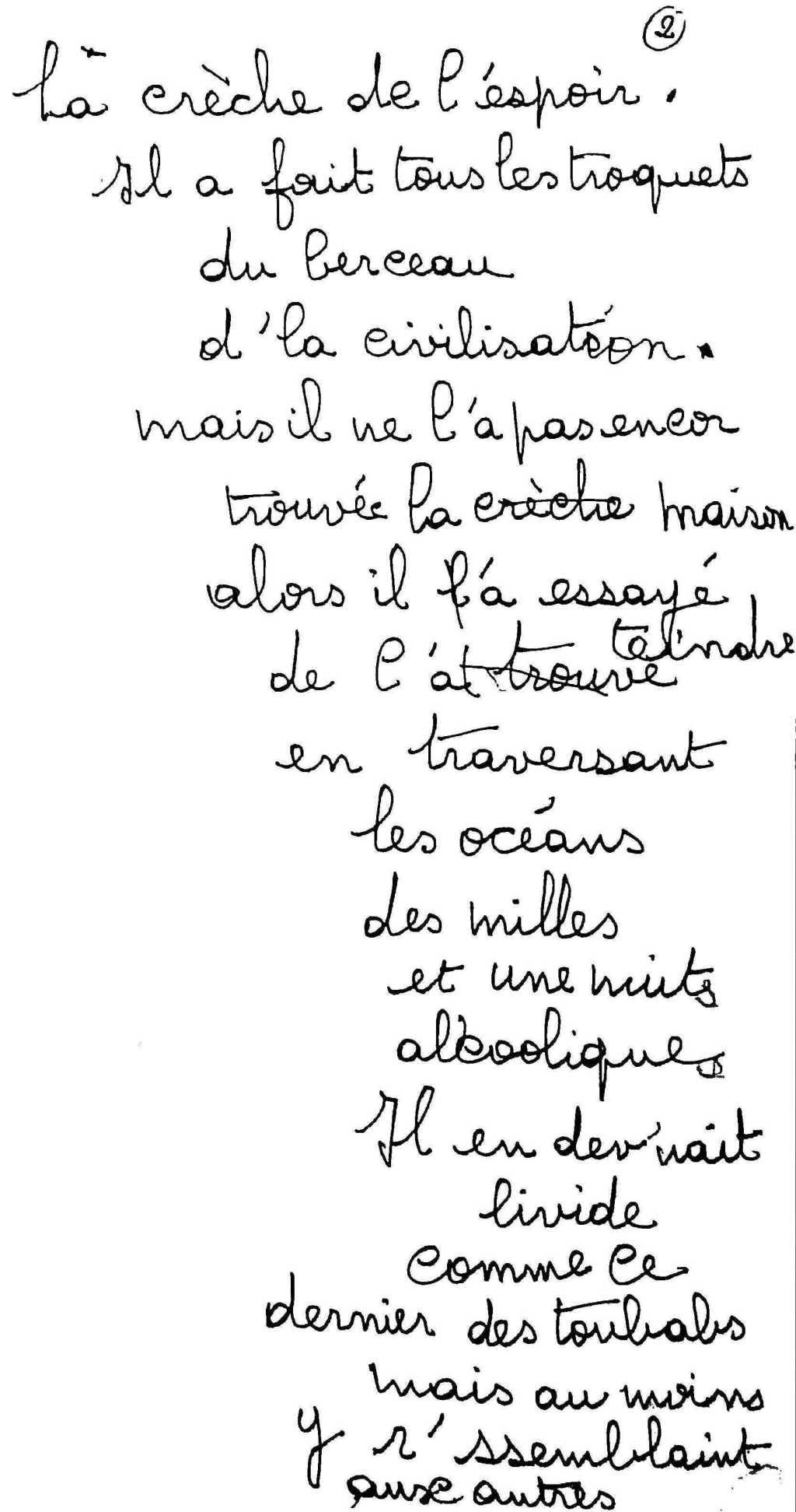 manuscrit du poème 2531