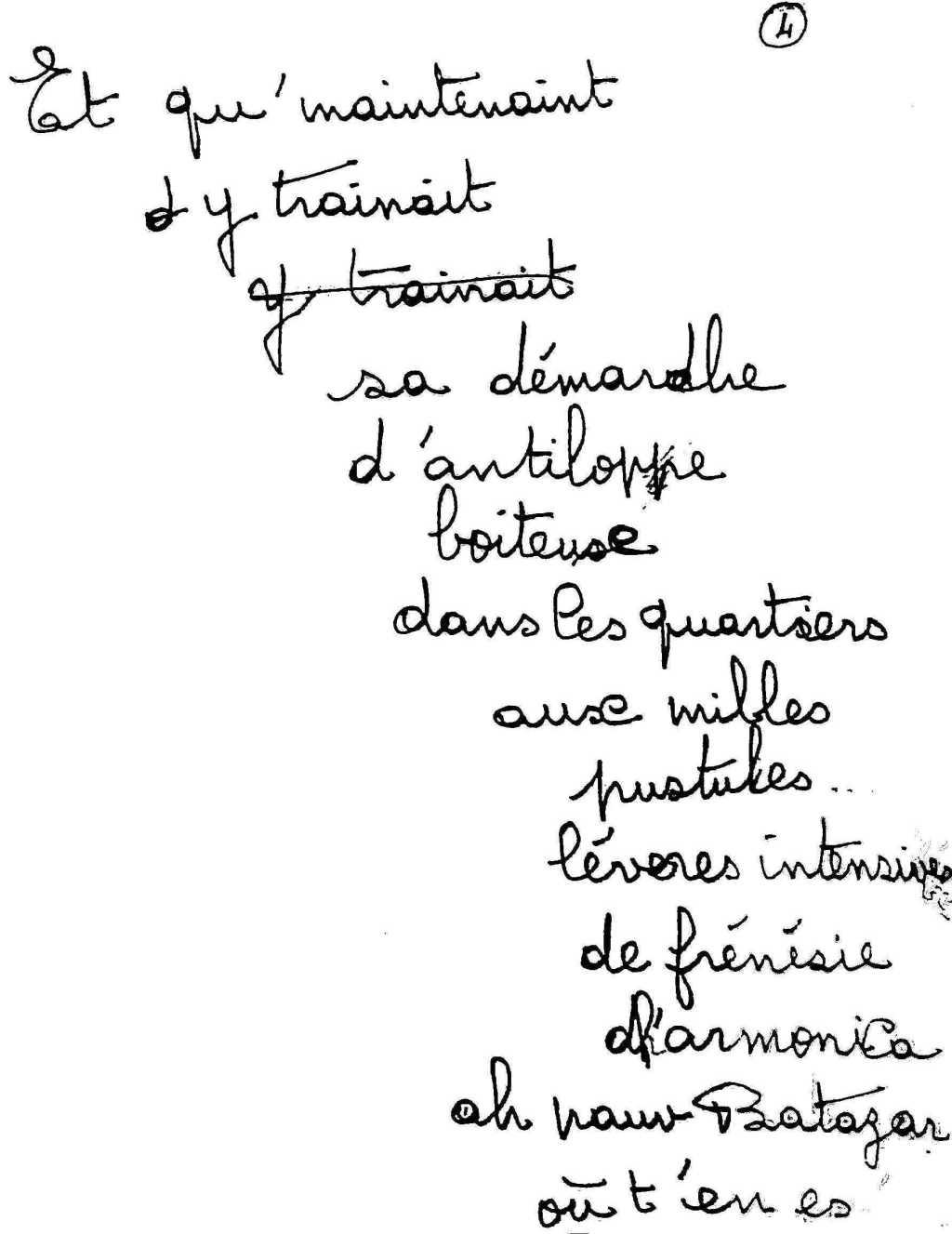 manuscrit du poème 2533