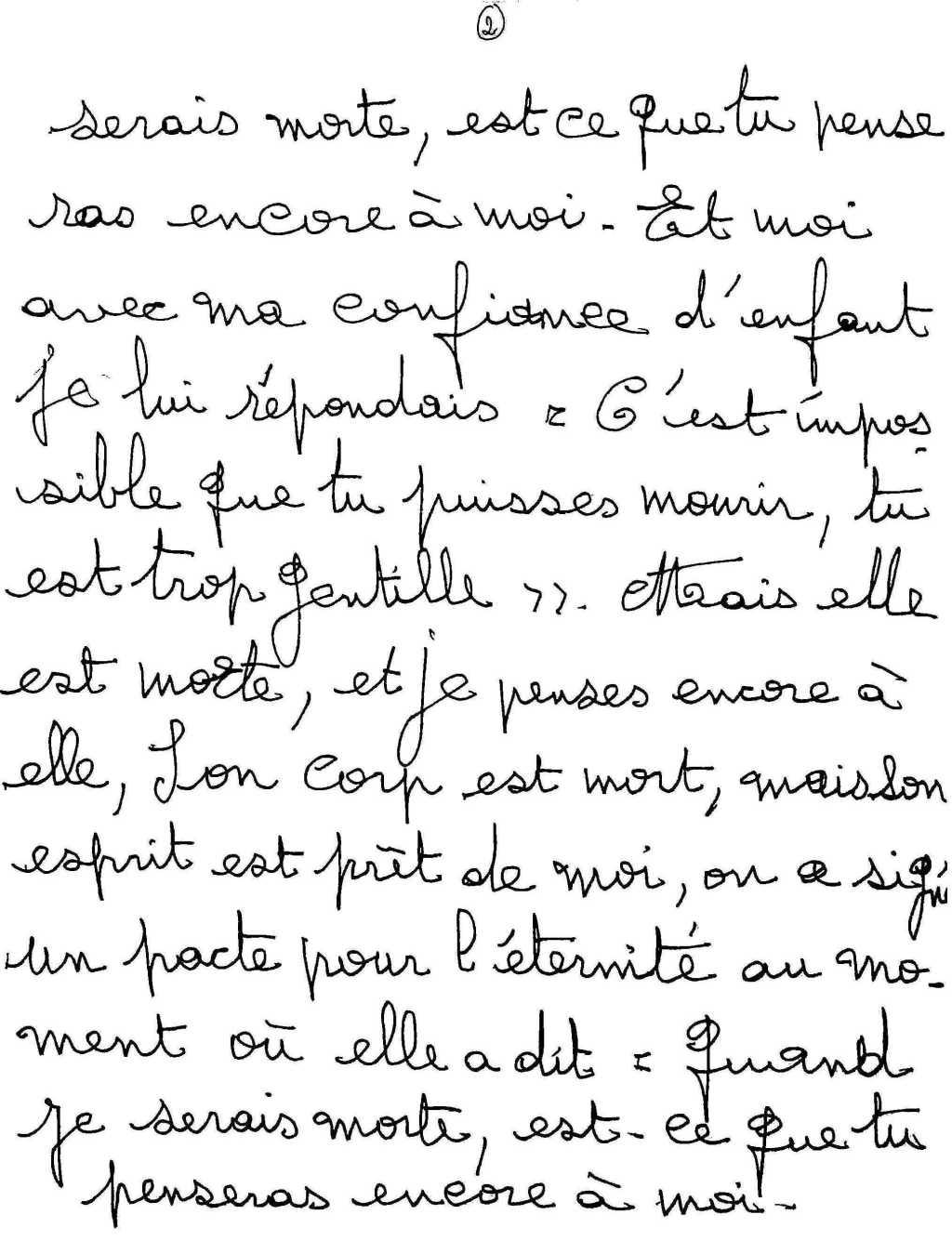 manuscrit du poème 2539