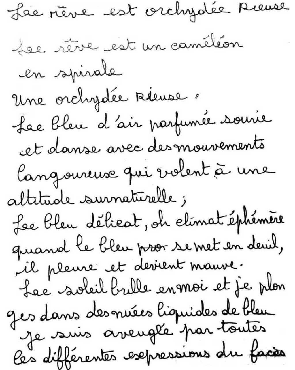 manuscrit du poème 2543