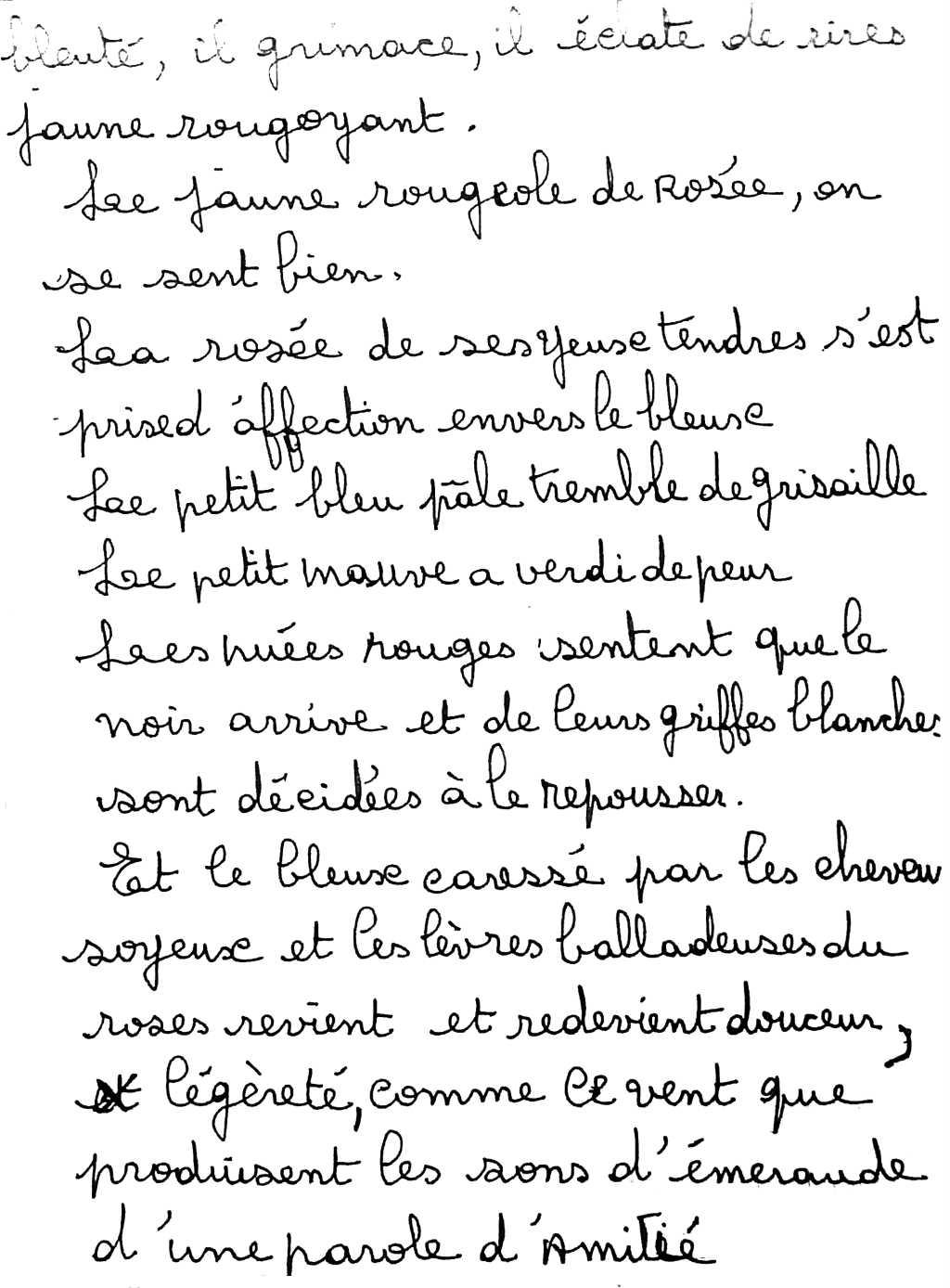 manuscrit du poème 2544