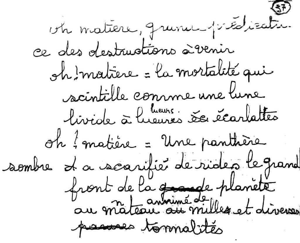 manuscrit du poème 2549