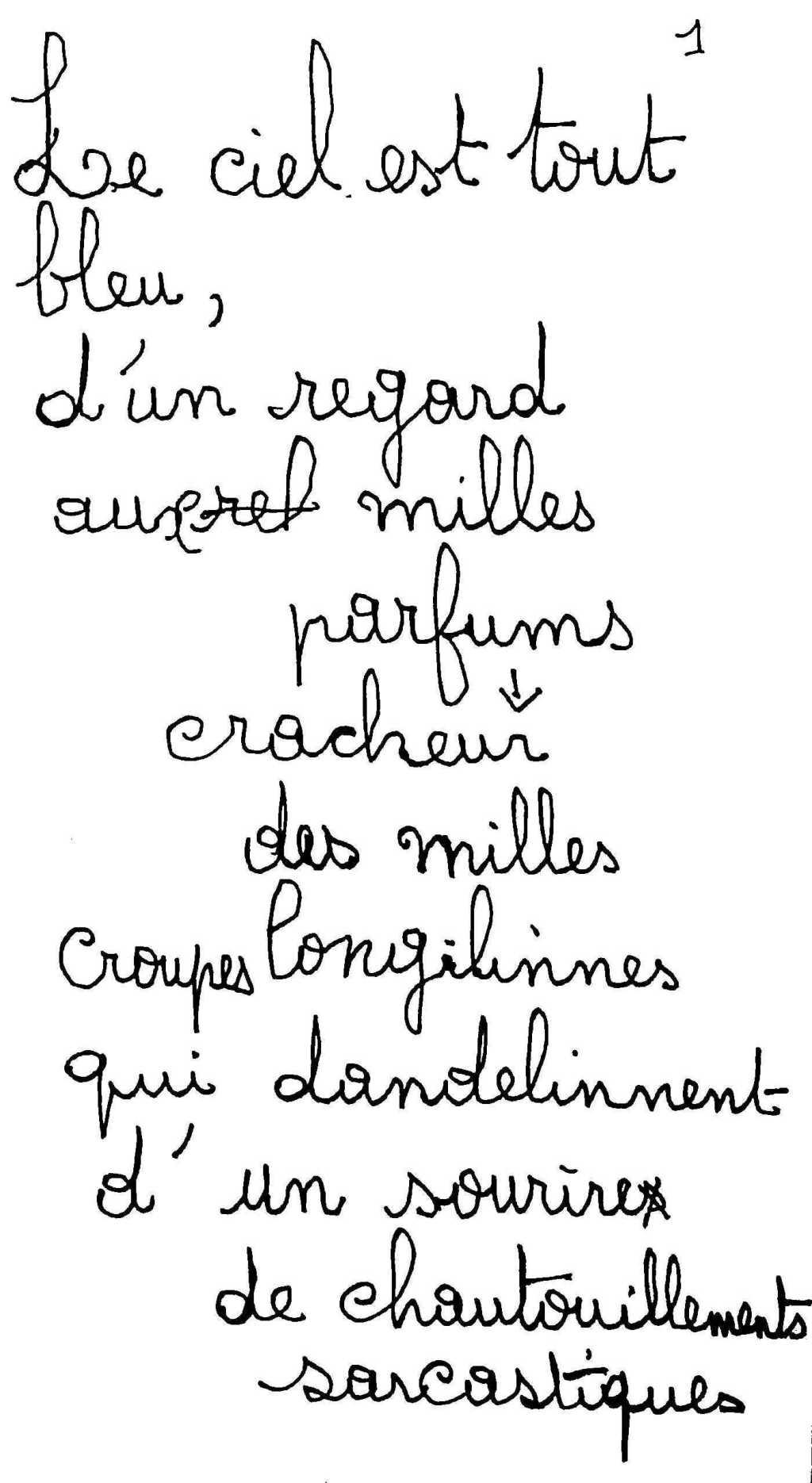 manuscrit du poème 2554