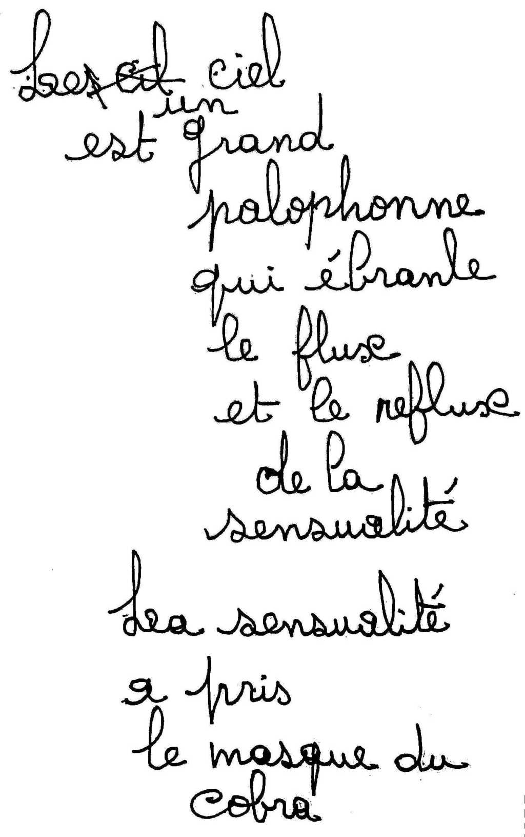 manuscrit du poème 2555