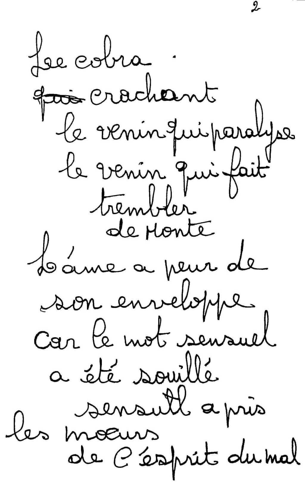 manuscrit du poème 2556