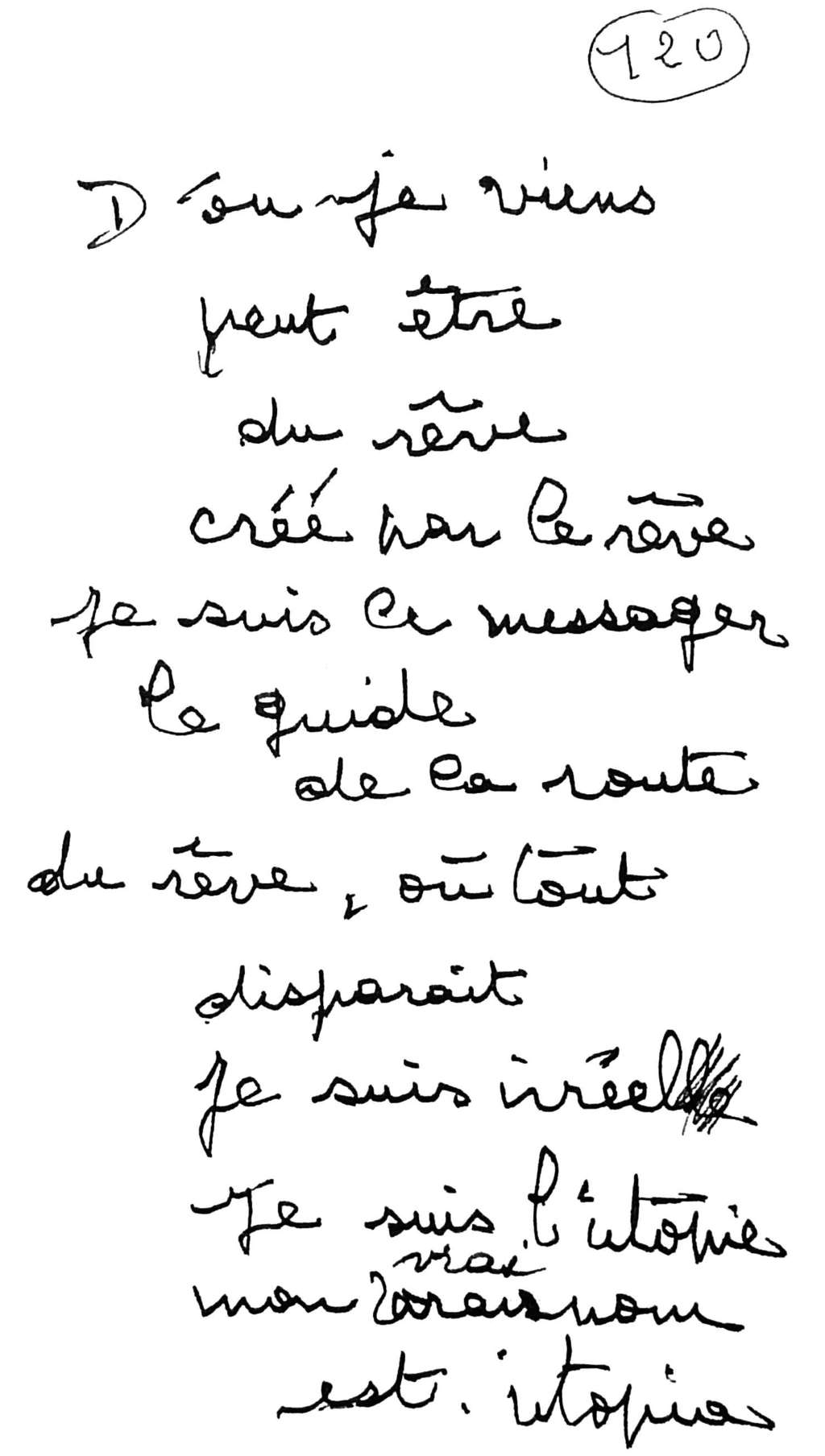 manuscrit du poème 2564