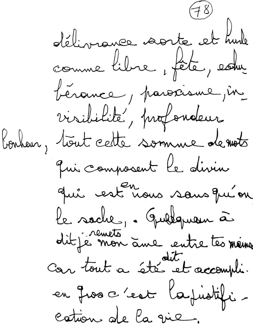 manuscrit du poème 2585