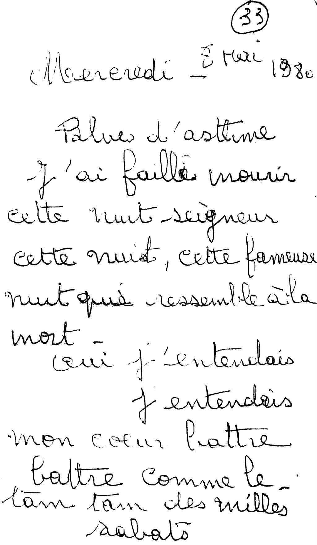 manuscrit du poème 2587