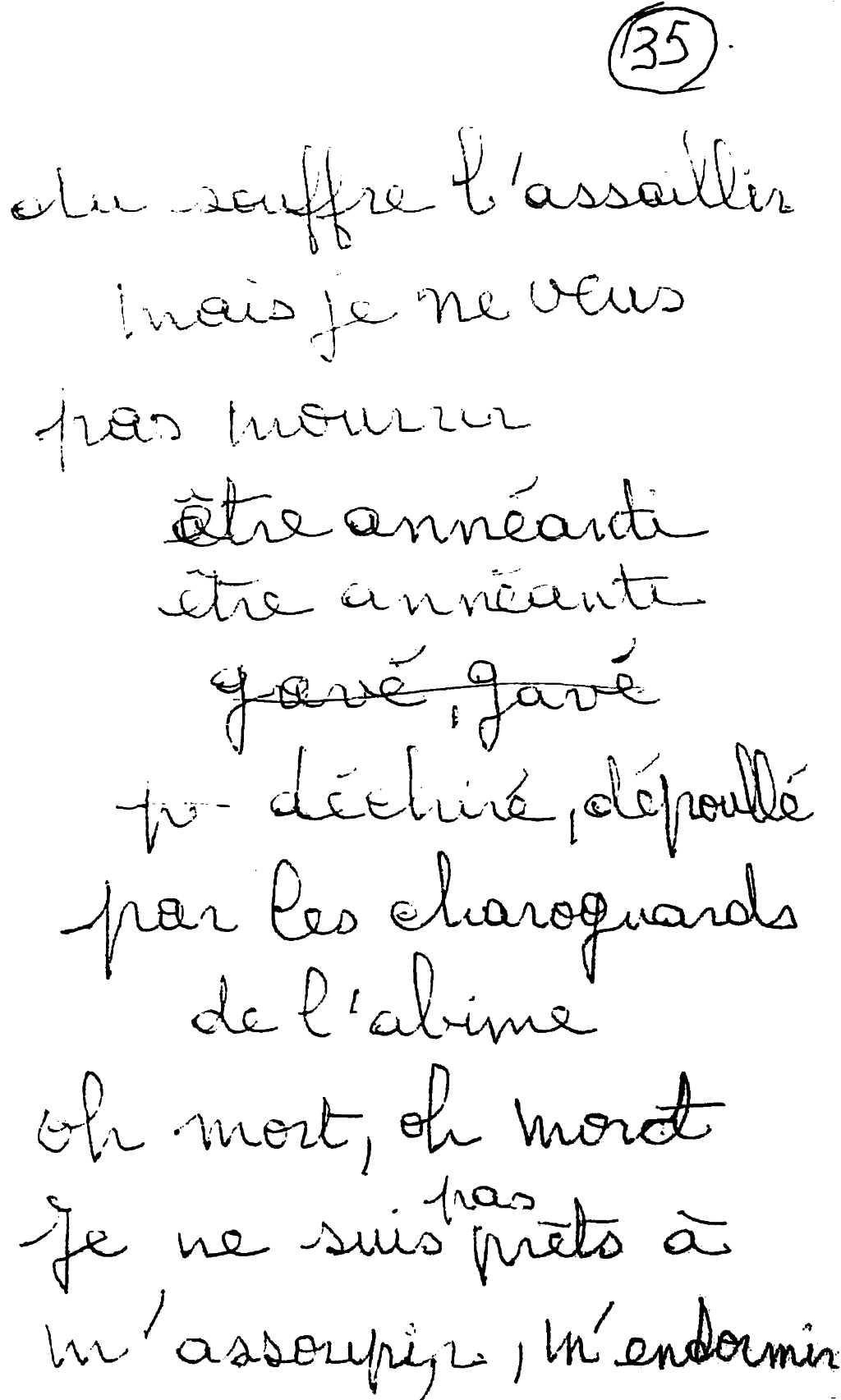 manuscrit du poème 2589
