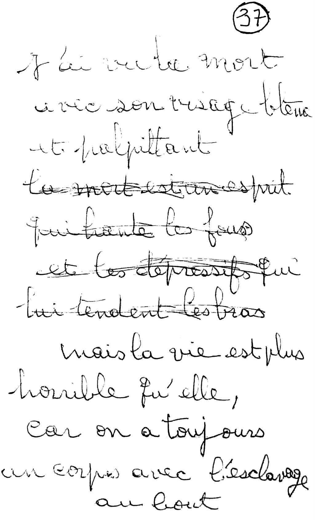 manuscrit du poème 2591