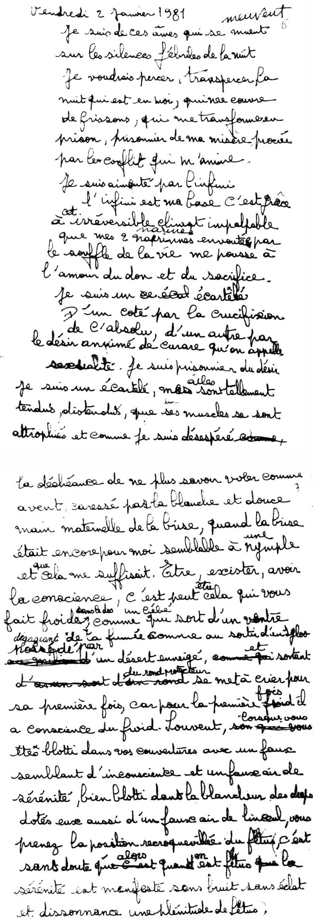 manuscrit du poème 2852