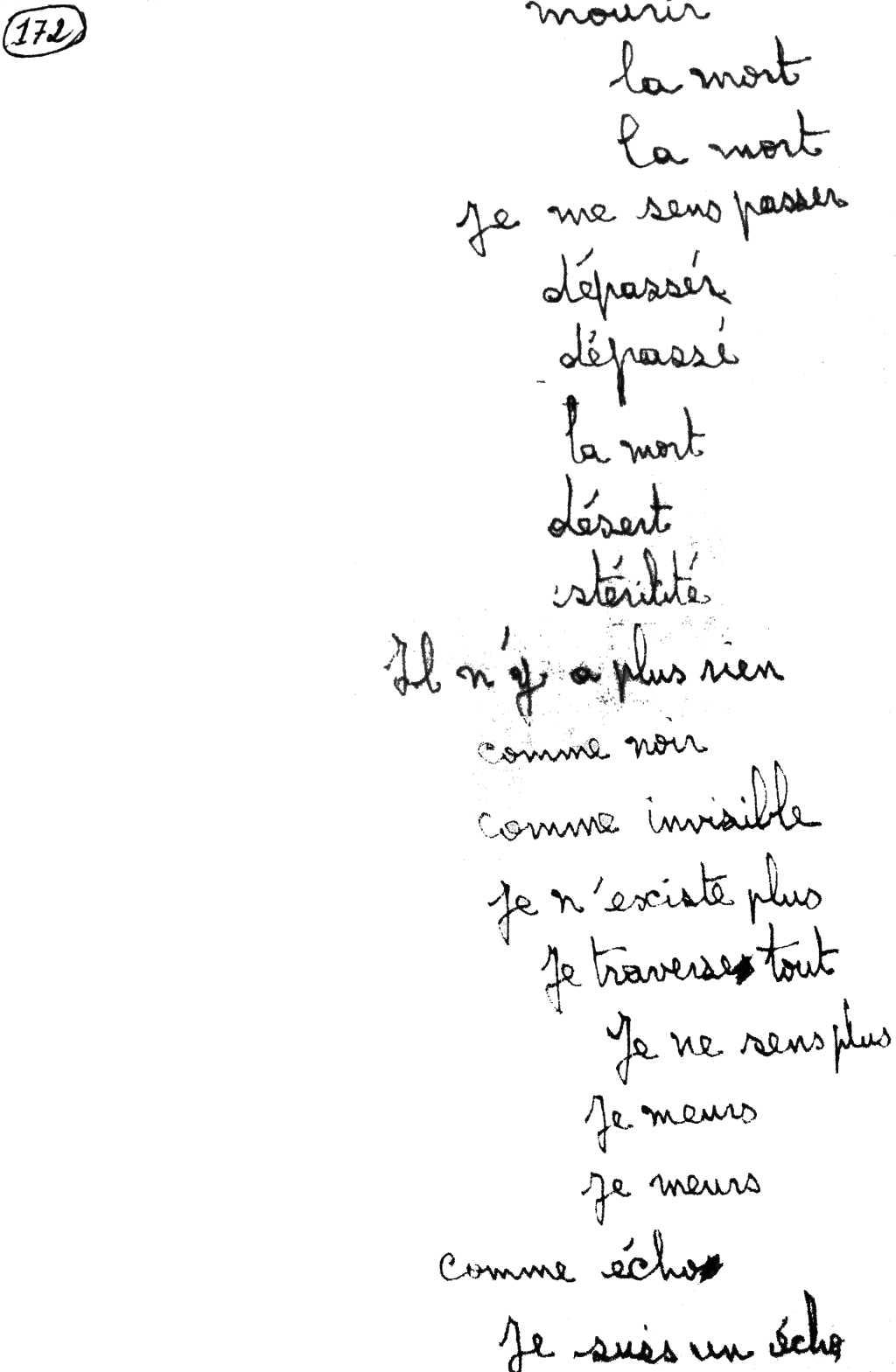 manuscrit du poème 2863