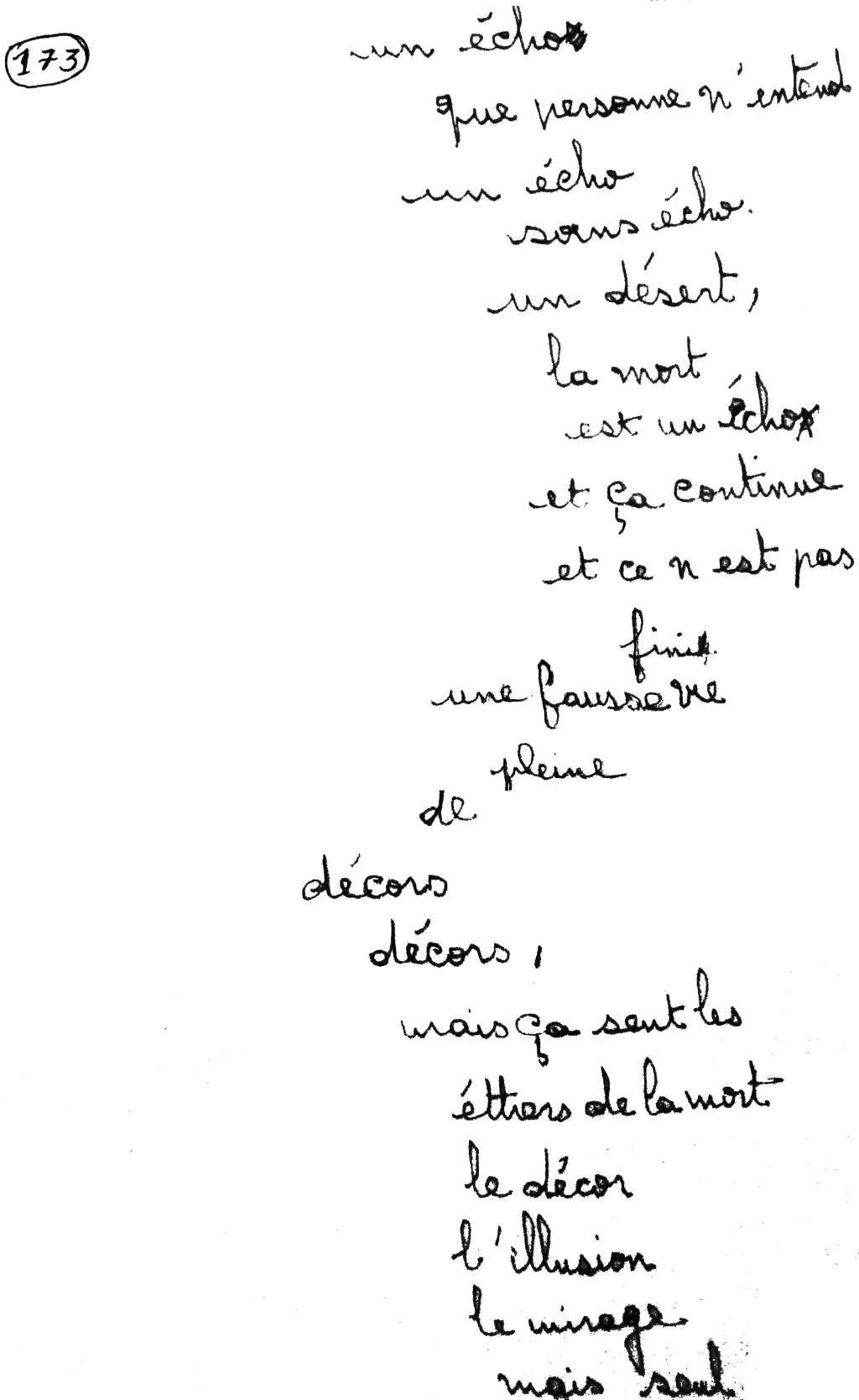 manuscrit du poème 2865