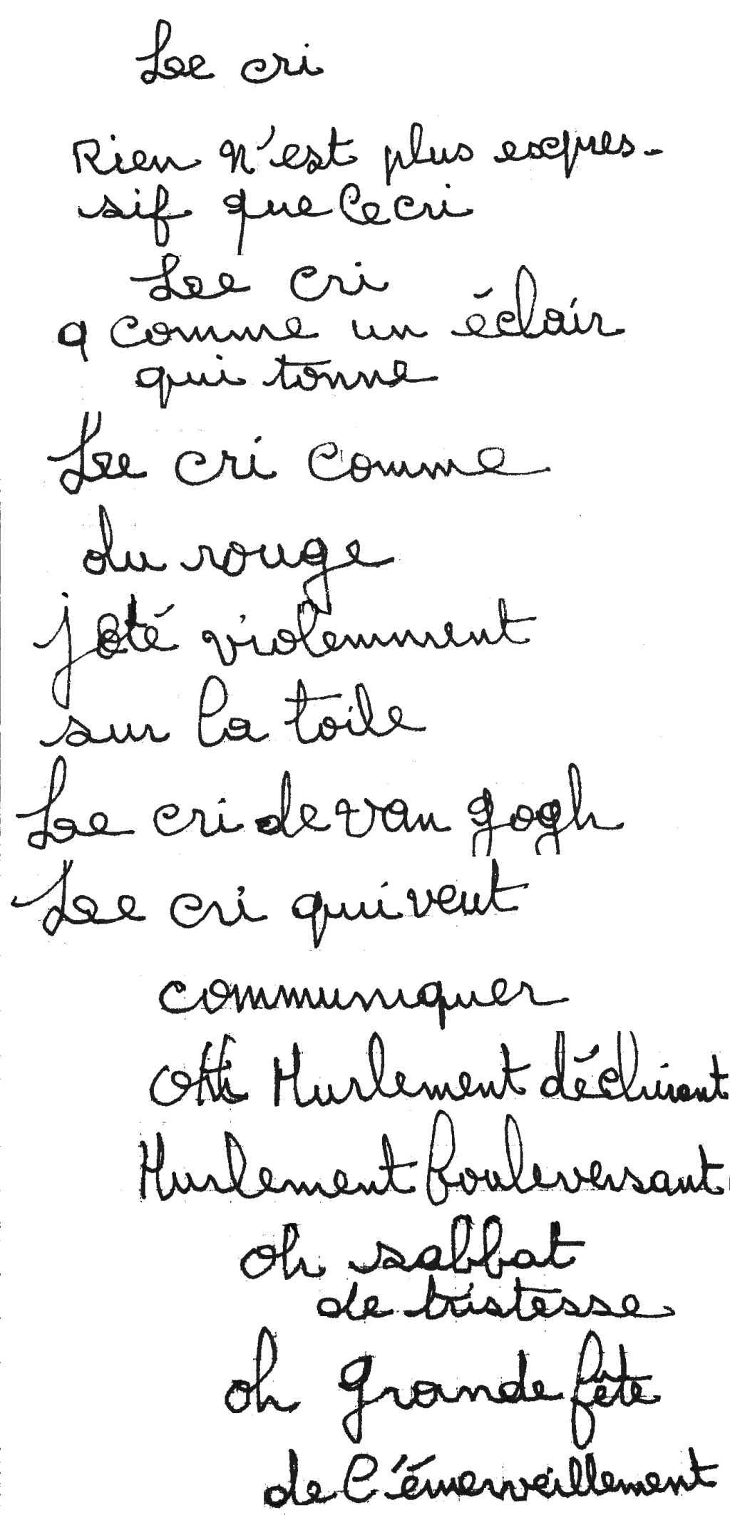 manuscrit du poème 2868